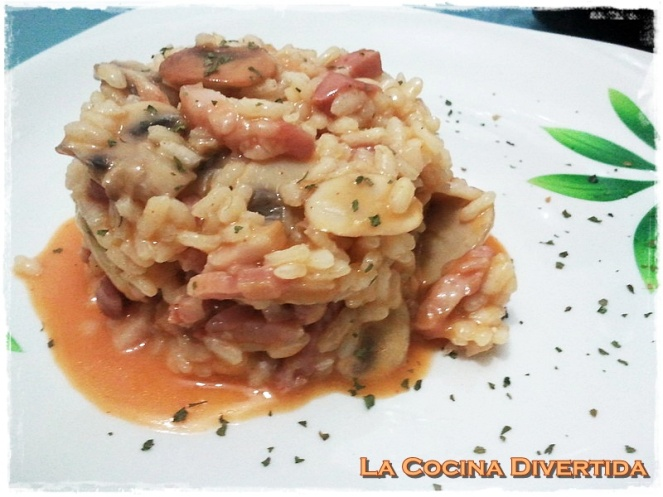 Arroz meloso de setas y bacon