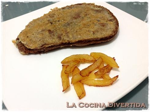 Hígado rebozado con patatas trampantojo chocolate con manzana frita