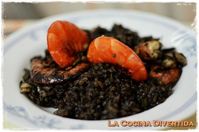 arroz negro con gambones