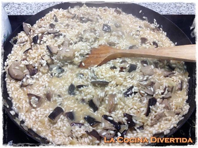 risotto con setas de cardo