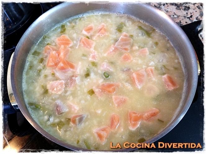 arroz con salmon y trigueros