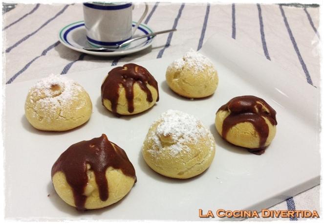 profiteroles rellenos de crema pastelera