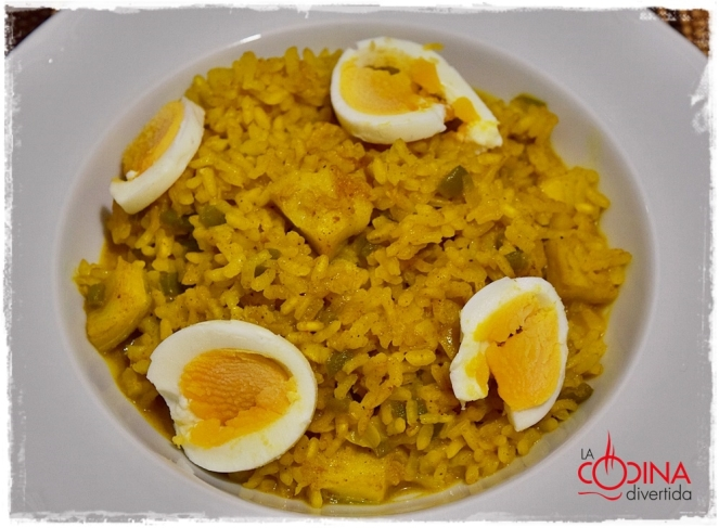 arroz al curry con bacalao