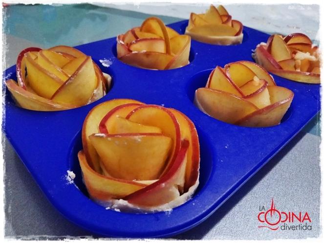 flores de hojaldre y manzana