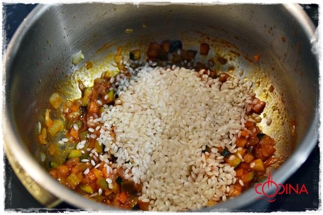 arroz con verduras y salmón