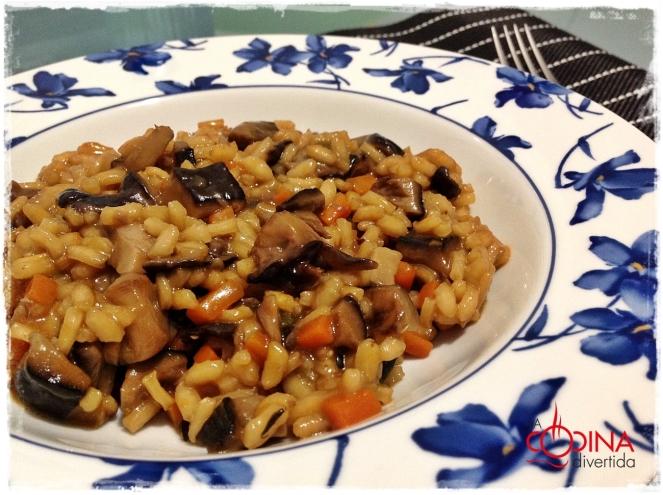arroz con setas y salsa de soja