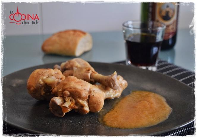 muslos de pollo estofados con vermut